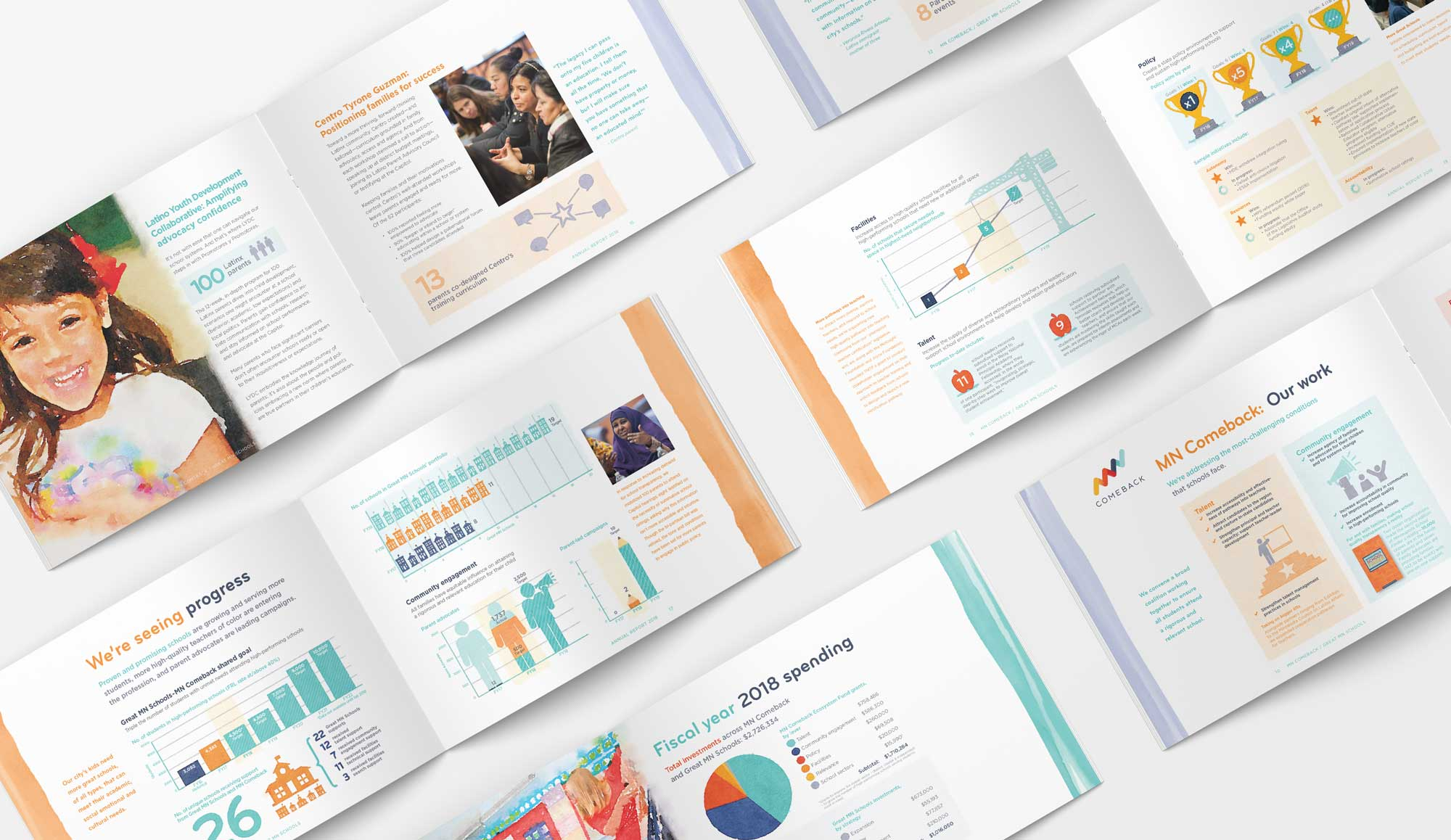 Great Schools 2018 Annual Report spreads with charts & graphs