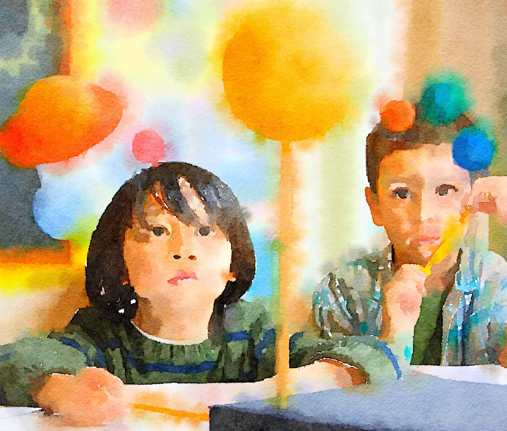 Great Schools 2018 Annual Report watercolor of science class