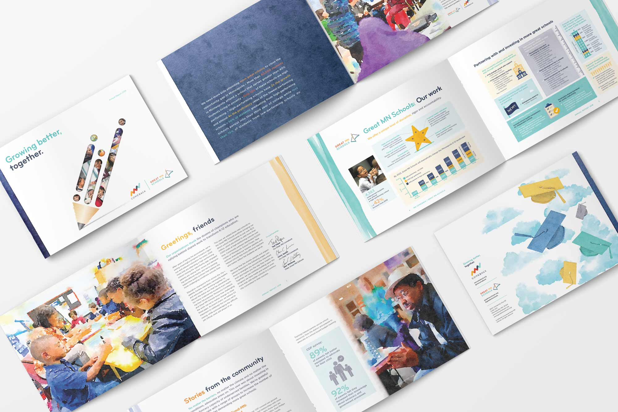 Great Schools 2018 Annual Report covers, inside spreads