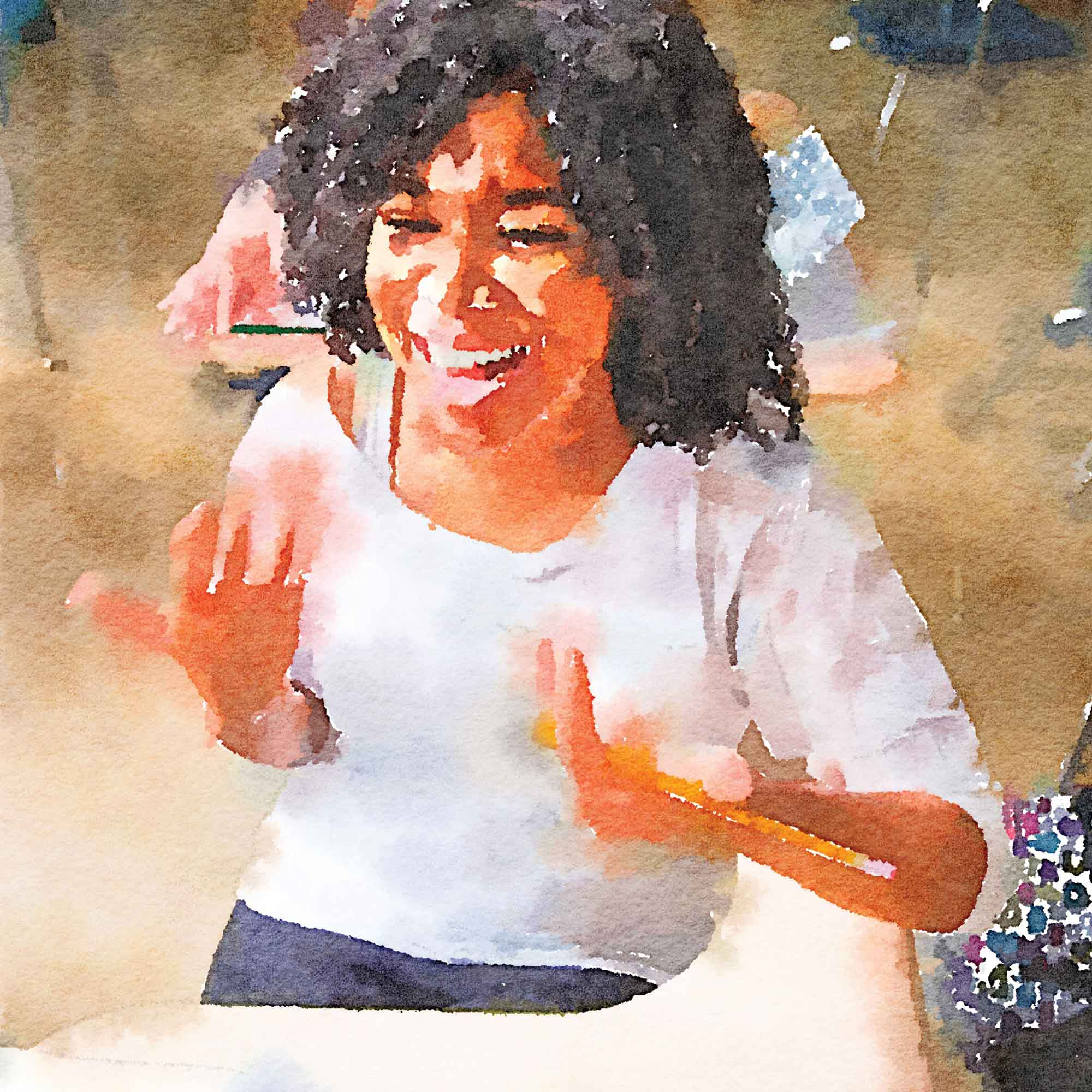 Great Schools 2018 Annual Report watercolor of teen student